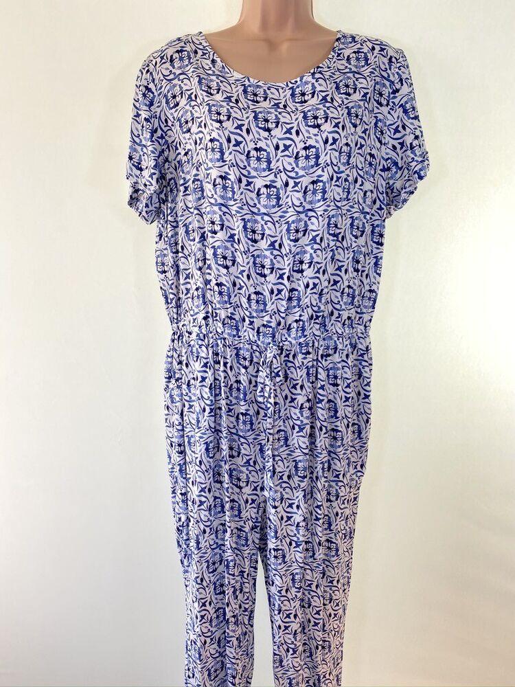 Bnwt Next Blanc & Bleu Boho Floral Paisley Print Tapered Leg Jumpsuit Taille 14