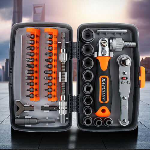 """38Pcs Mini Ratchet Screwdriver Multi Tool Bits Set 1//4/"""" Drive Socket Wrench Kit"""
