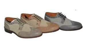 19V69-Versace-Business-Schuhe-Leder-Handmade-Full-Brogue