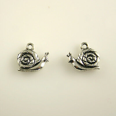 6 Shell charms antique silver tone FF162