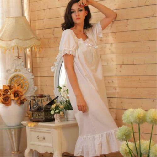 Details about  /Womens Cotton Vintage Retro Lolita White Sleepwear Dress Nightgown Pajama Chic
