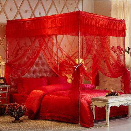 Bed curtains mosquito ting Elegant metal bar frame 4 corner canopy Mosquito net