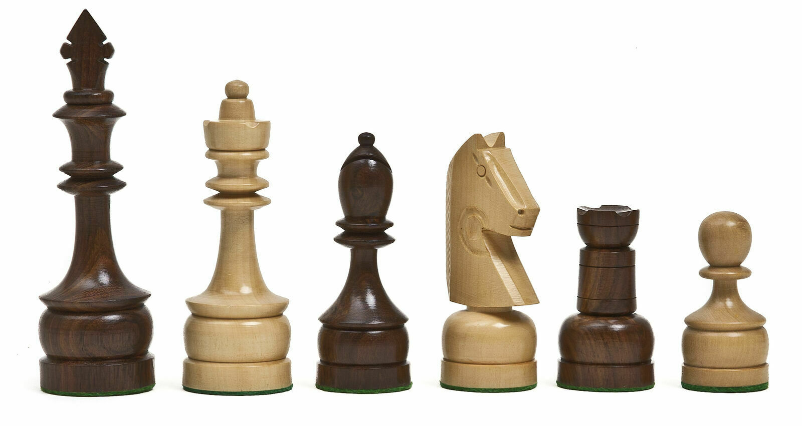 Knights Staunton Champ Hand Carved Wooden Chessmen Felted King Height 4 1 2