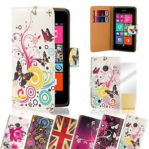 PU-Leather-Design-Book-Wallet-Case-Cover-for-Lumia-Phones-Screen-Protector