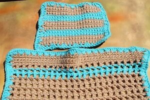Hand Crochet Single Double Stitch Tan Turquoise Baby Or Doll