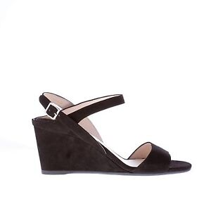 d7d50e2134 PRADA women shoes Black suede sandal with ankle strap and thin wedge ...