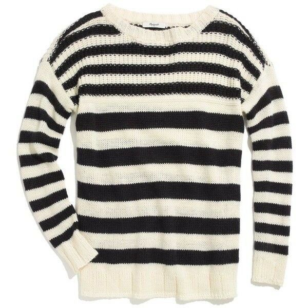 Madewell Striped Multistitch wool Sweater large loose fit