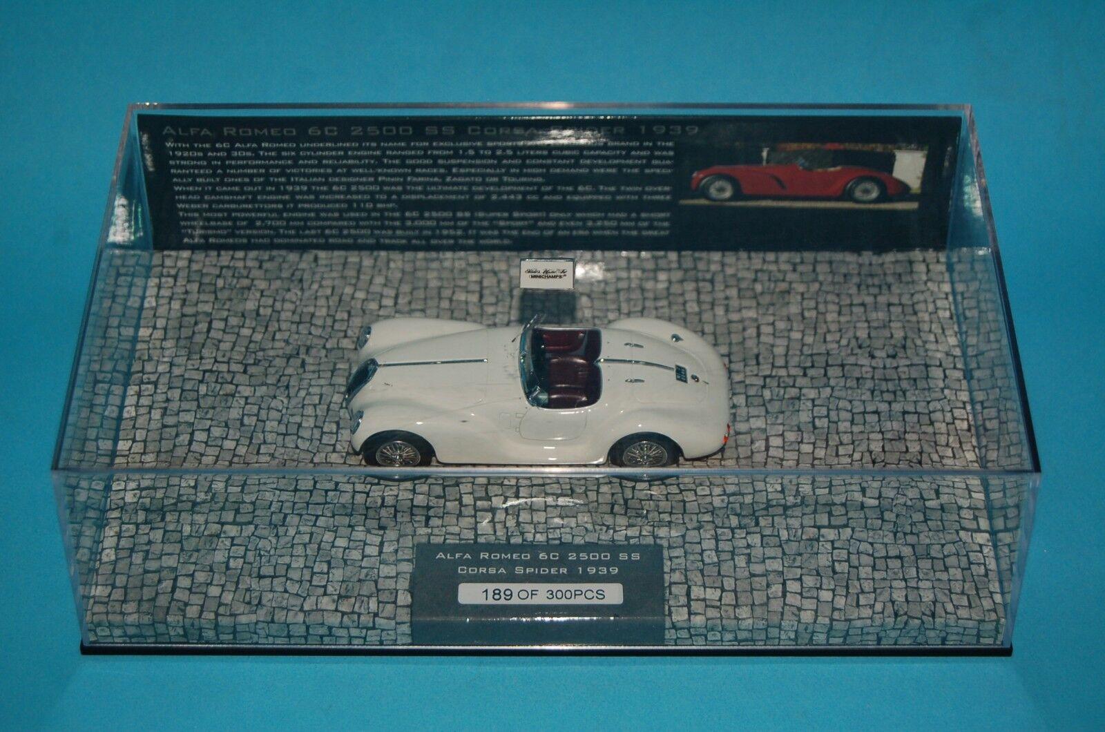 Alfa romeo 6c 2500 ss minichamps 1 43 corsa spider - 1939 - weiße l.e. 437120234