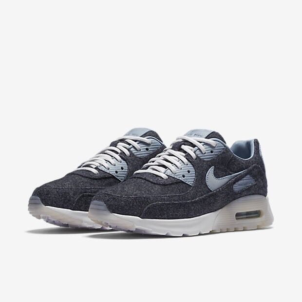 Nike Air Max 90 Ultra Premium Leather Wool Blau Weiß Uk Größe 4.5 859522-400