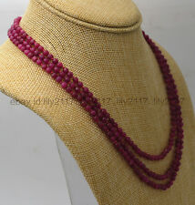 NATURAL 3 ROWS 4MM FACETED BRAZIL RUBY RED ROUND BEADS NECKLACE 17-19""