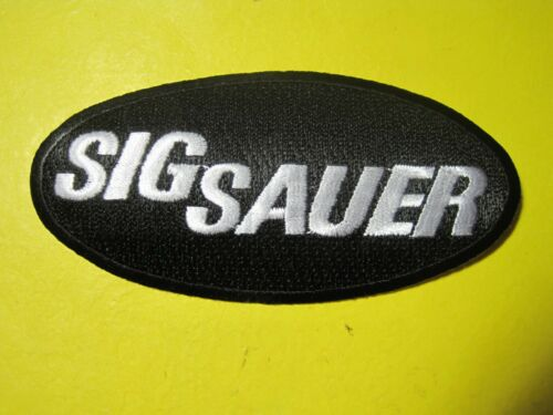 SIG SAUER FIREARMS VEST PATCH 2 X 4 INCH SEW ON GUN PATCH 100/% EMBROIDERY BLACK