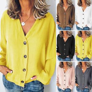 ZANZEA-Women-Buttons-V-Neck-Shirt-Tops-Casual-Plain-Loose-Blouse-Long-Sleeve-Top