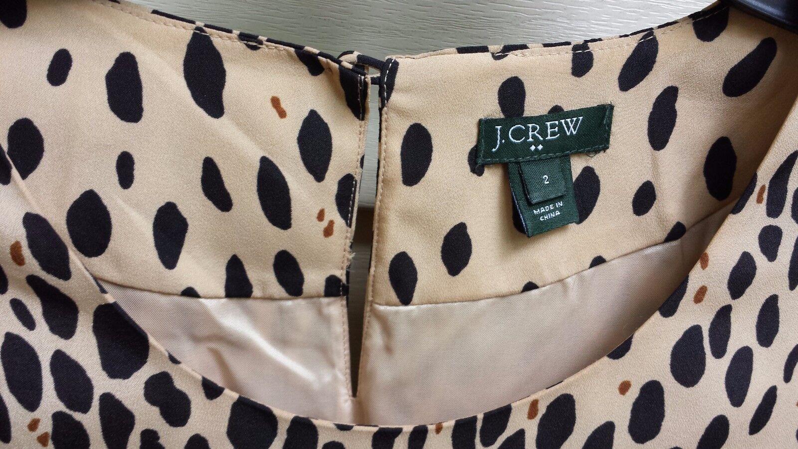 J.CREW J.CREW J.CREW Jules Dress in Wildcat Leopard Animal Print Tan Shift Style Size 2 fb53f9