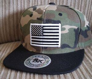 Image is loading Camouflage-Baseball-Cap-Flat-Bill-Snapback-hat-USA- 24be428e855