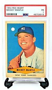 1954-Red-Heart-Yankees-MICKEY-MANTLE-Baseball-Card-PSA-Grade-1-Great-Centering