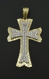 """2/"""" Men/'s Edgy CZ Cross Charm Pendant Real Solid 10K Yellow Gold"""