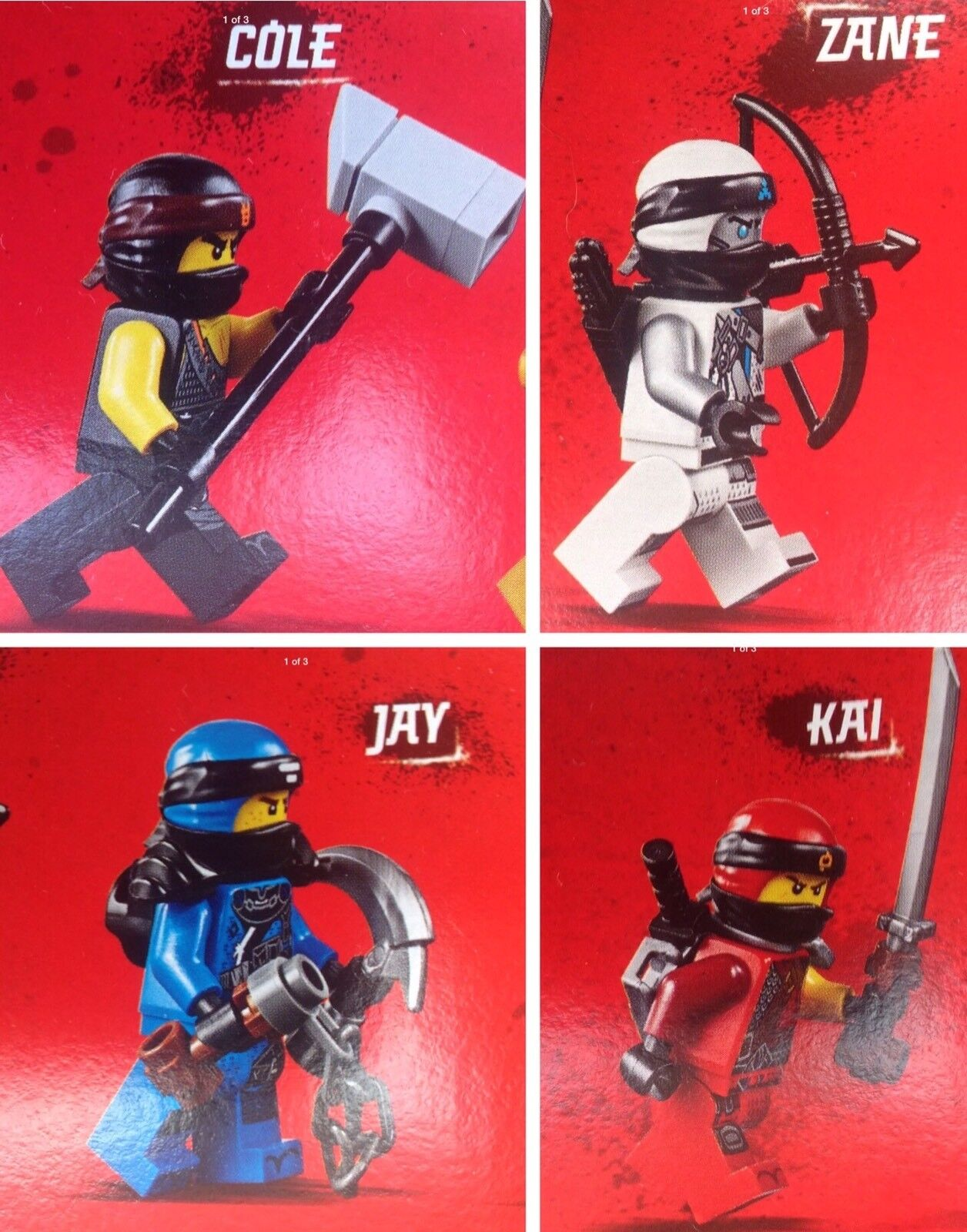 Lego 70655 Kai,Zane,Jay & Cole Minifigures With Weapons(only)NEW Split From Set