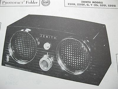 ZENITH Z511R /& Z512Y RADIO PHOTOFACT Z512F Z512G