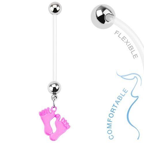 14g Bioflex Schwangerschaft Bauchnabel-Stange//Bauchnabelpiercing mit Lang