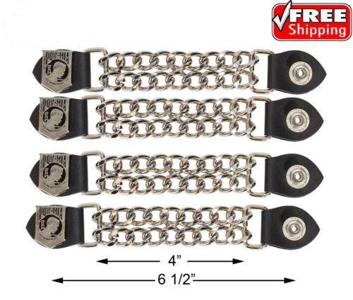 4 pc 6 1//2 Inch Motorcycle Vest Extenders Biker Pow 4 Inch Chain Chrome