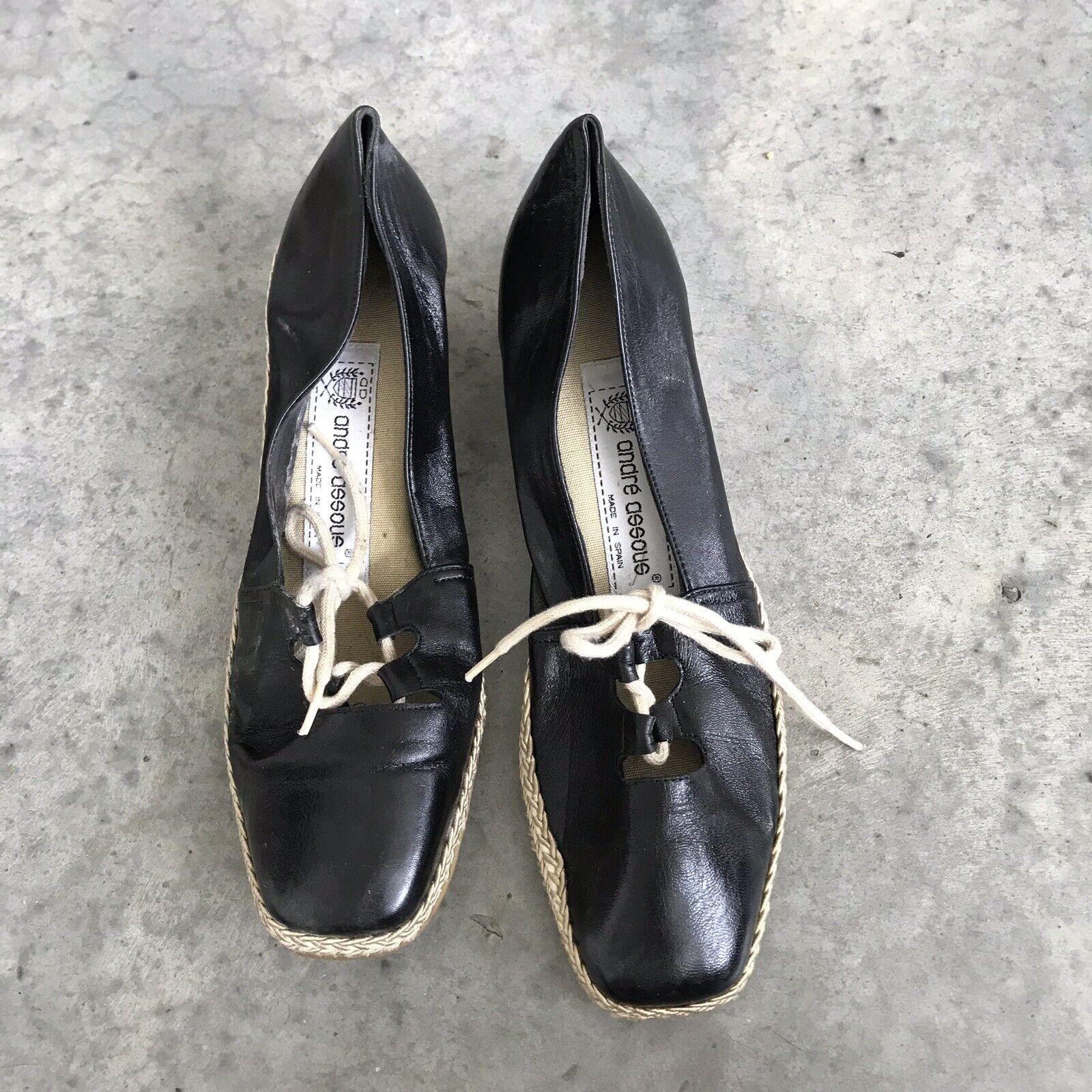 Andre Assous Black Leather Espadrilles Wedges Platform Espadrille Shoes Size 7.5