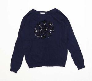 Antoni-amp-Alison-Womens-Size-10-Graphic-Blue-Snowflake-Sequinned-Jumper-Regular