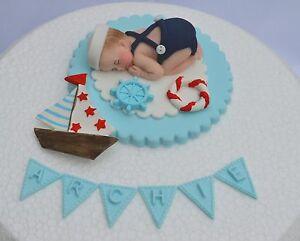 Sensational Edible Personalised Sailor Baby Christening 1St Birthday Cake Personalised Birthday Cards Sponlily Jamesorg