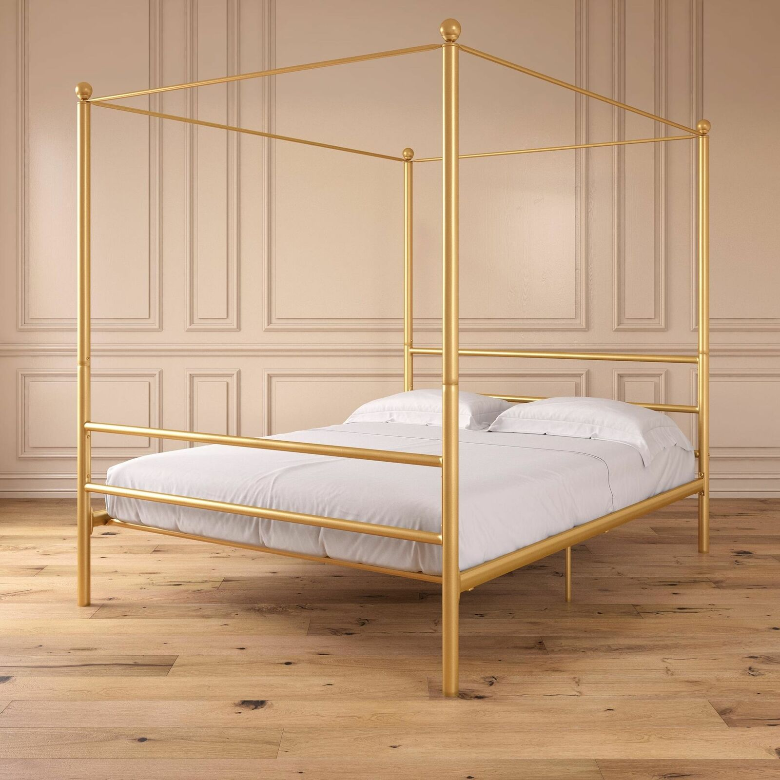 Queen Size Gold Metal Steel Canopy Bed Frame Modern Bedroom Furniture For Sale Online