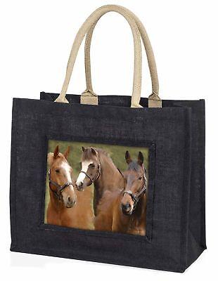 Pferd Montage große schwarze Einkaufstasche Weihnachten Geschenkidee, ah-9blb