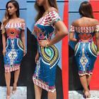 HOT Women Traditional African Print Dress Dashiki Bodycon Short Sleeve Dress