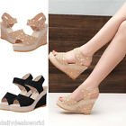 NEW WOMENS WEDGES LADIES HIGH HEEL PLATFORM ANKLE STRAP SANDAL SHOES SIZE 3.5-5