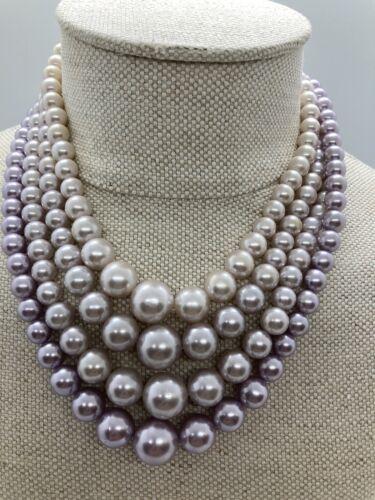 Multi-Strand Faux Pearl Necklace Clip Earrings Vin