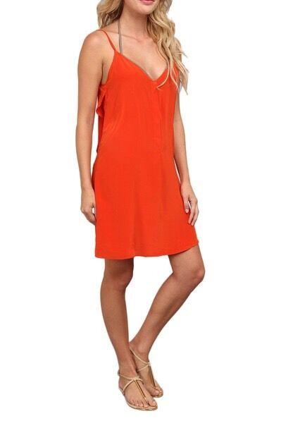 ViX SOLID orange PAPI SILK SHORT FESTIVAL DRESS BIKINI COVER UP (M) NWT