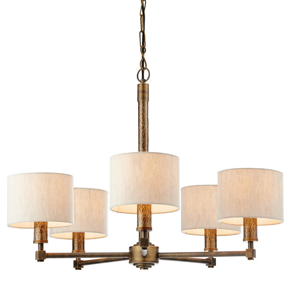 Multi Light Ceiling Pendant –5 Bulb BRONZE, Weiß Shade– Vintage Chandelier Lamp