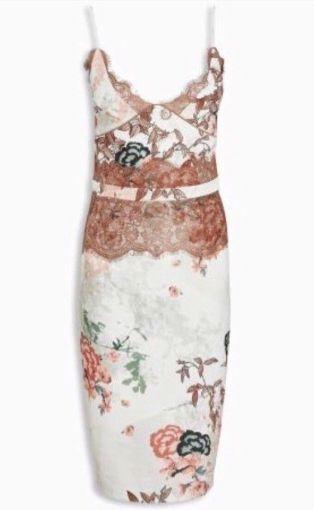 aa51ba0273d7 BNWT New NEXT White Pink Floral Lace Bodycon Midi Midi Midi Dress 12 16  Regular Petite b9e6c6