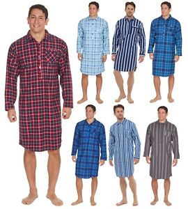 Image is loading Mens-Night-Shirt-Traditional-Striped-Nightshirt-Brushed- Flannel- ecce840be
