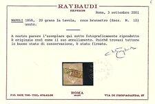 Napoli 1858 - 20 gr. rosa brunastro - Sassone 12 - Certificato - Usato - ASI037
