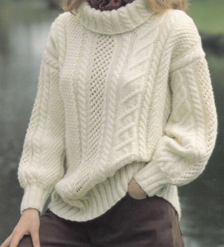 Ladies Aran drop shoulder Sweater Knitting pattern fits 30-40 chest