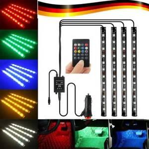 4X-RGB-LED-eclairage-Eclairage-interieur-Voiture-Eclairage-ambiant-Telecommande
