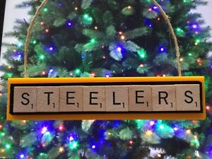 08aede4e Details about Pittsburgh Steelers Christmas Ornament Scrabble Tiles Rear  View Mirror Magnet