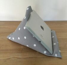 Tablet pillow, iPad stand, grey & white spot smartphone kindle E-reader cushion