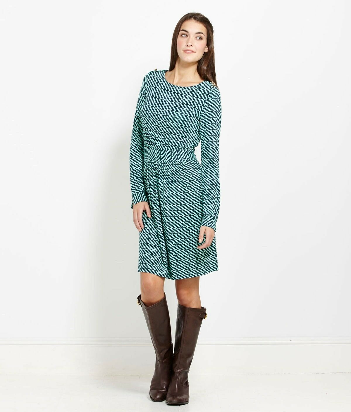 Vineyard Vines Long Sleeve Ocean Swell Dress in Green and bluee- Size XL- EUC