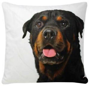 Rottweiler Dog Print White Chenille Cotton 17 X 17 Cushion Cover