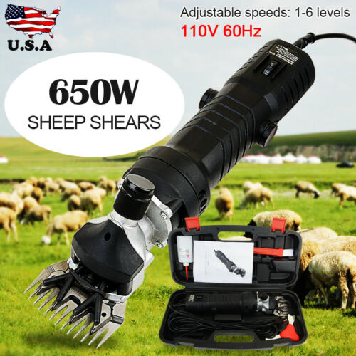 650W Electric Sheep Alpaca Goat Shearing Clipper 6 Adjustable Speed Shears Black