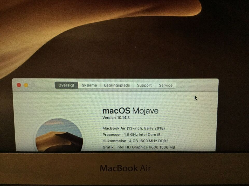 MacBook Air, 2015 med 256 GB Harddisk, 1.6 GHz