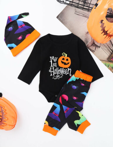 3PCS Infant Baby Boys Girls Halloween Outfit Toddler Party Romper Pants Hat Set