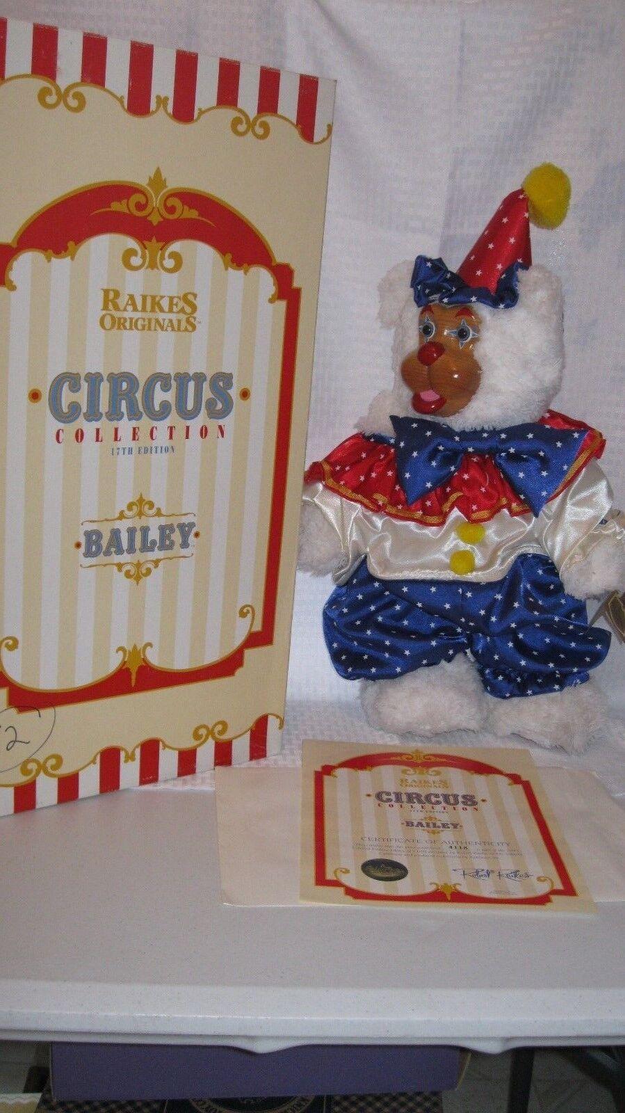 Robert Raikes Wooden Face Bear  Bailey THe Circus Clown 18in Doll