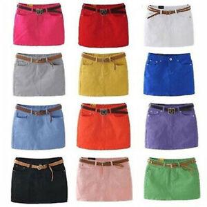 Summer-Fashion-Women-039-s-Candy-Colors-Sexy-Mini-Denim-Skirt-Clubwear-Wrapped-Skirt
