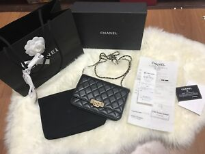 ab5122a3e0d8 Image is loading Authentic-Chanel-Golden-Class-Double-CC-Wallet-on-