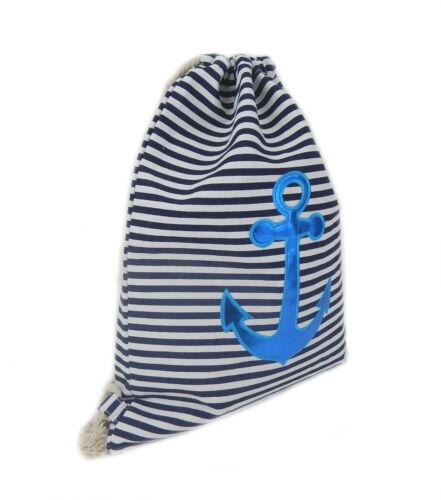 Gymbag Anker Streifen weiß blau Glanz Aufnäher Ella Jonte Gym Bag Turnbeutel